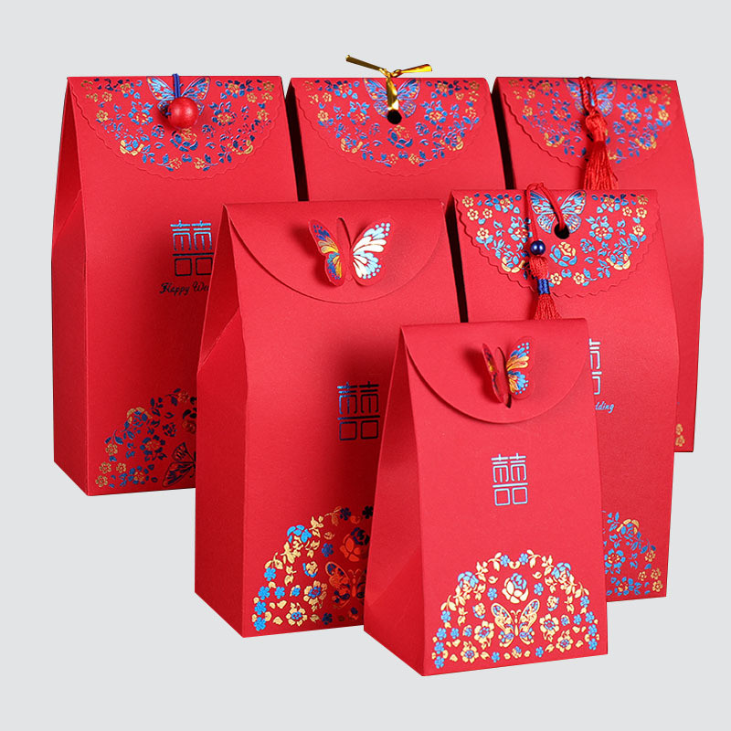 Red gift paper bag for wedding packaging box