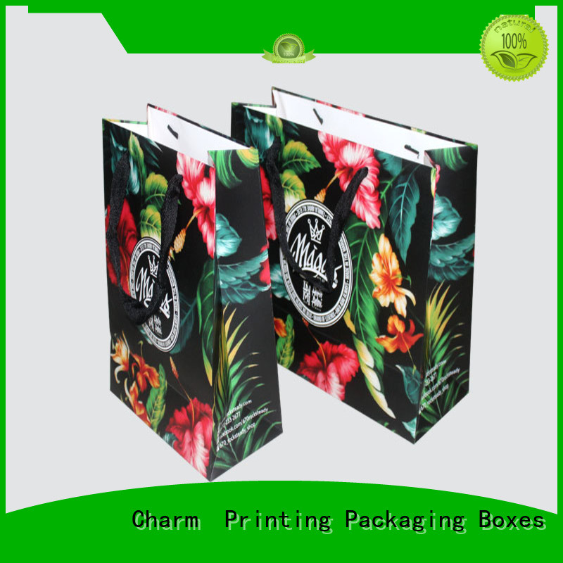 Custom shopping gift paper bag with ribbon