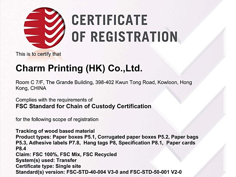 Certificate FCOC41230 20180822 Charm Printing