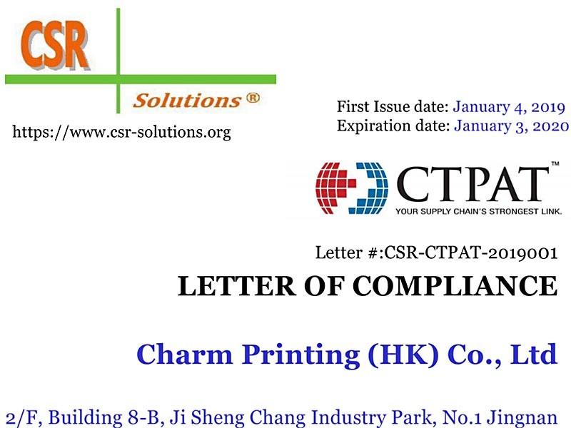 Letter of Compliance_CTPAT_Charm Printing_Eng_v3_July 01 2018