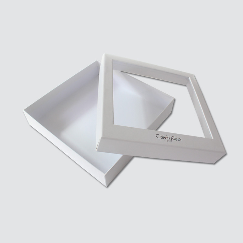 Custom White color rectangle gift box with plastic window