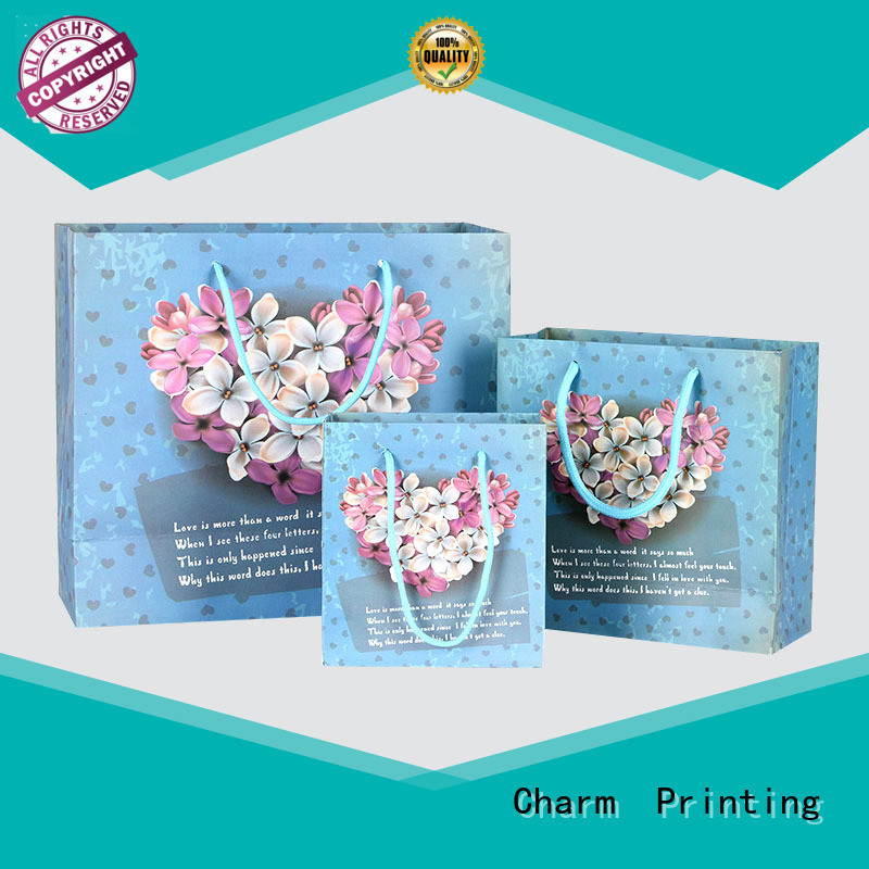 Charm Printing OEM paper gift bags fashion design for gift box